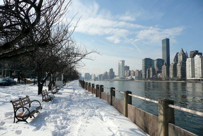 Manhattan no inverno do console de Roosevelt imagem de stock
