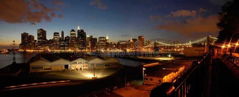 manhattan noc panorama zdjęcie stock