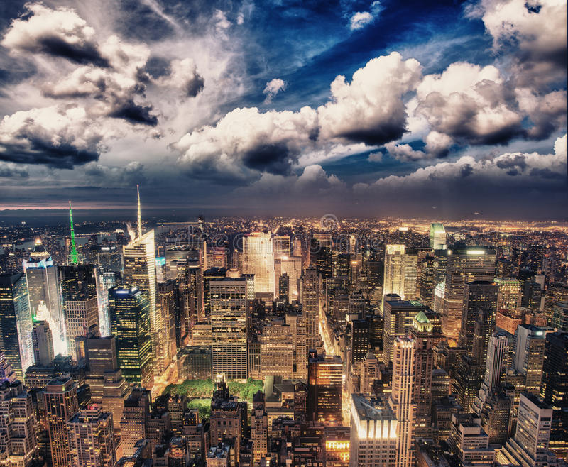 Manhattan, NYC. Spectacular sunset view of Bryant Park and Midtown from the top of Empire State Building.  royalty free stock images