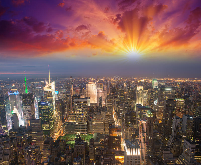 Manhattan, NYC. Spectacular sunset view of Bryant Park and Midtown from the top of Empire State Building.  royalty free stock image