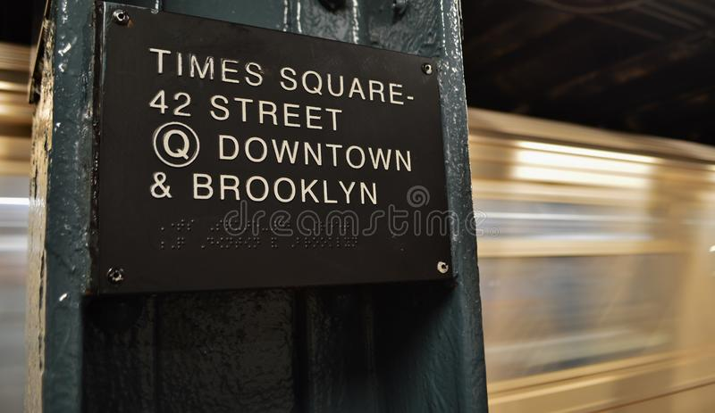 Manhattan NYC Subway Underground Train Times Square 42 Street Grand Central Station Sign stock photography