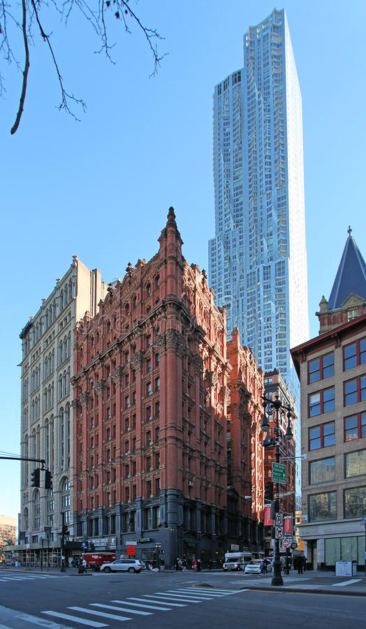 Manhattan old houses and sky scrapers, NY, USA. Manhattan old houses and sky scrapers in NY, USA, December 2015 royalty free stock images