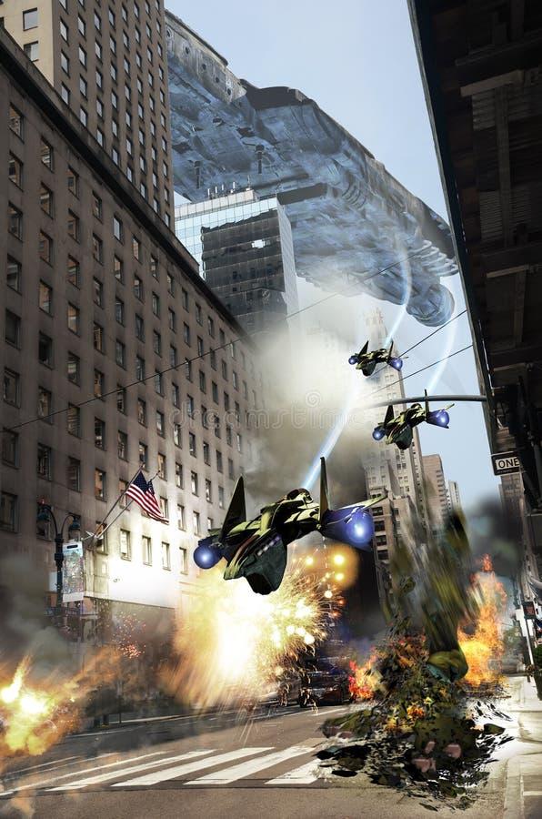 Manhattan onder aanval stock illustratie