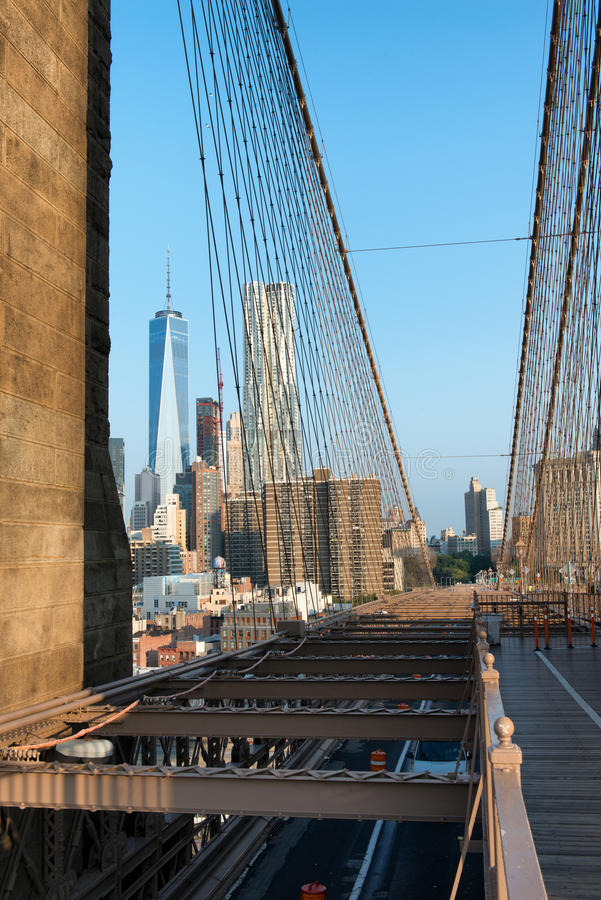 Manhattan and One World Trade Center from Bridge royalty free stock photography