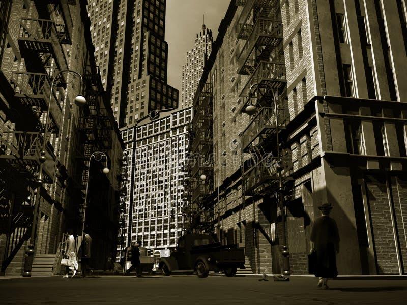 Manhattan retra ilustración del vector