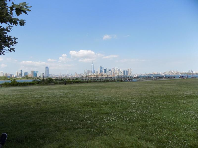 Manhattan Newyork Lansdscape. Manhattan scape taken from New Jersey park across a waterway royalty free stock photo
