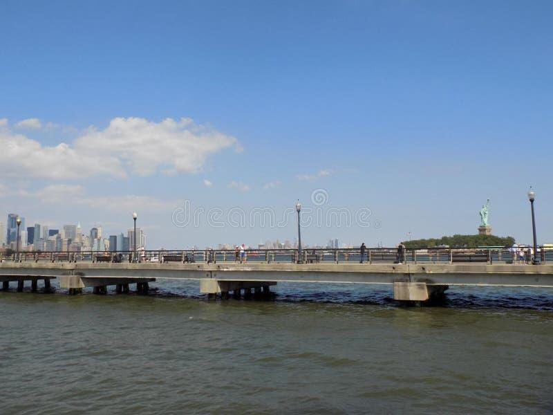 Manhattan Newyork Lansdscape. Manhattan scape taken from New Jersey park across a waterway stock photo
