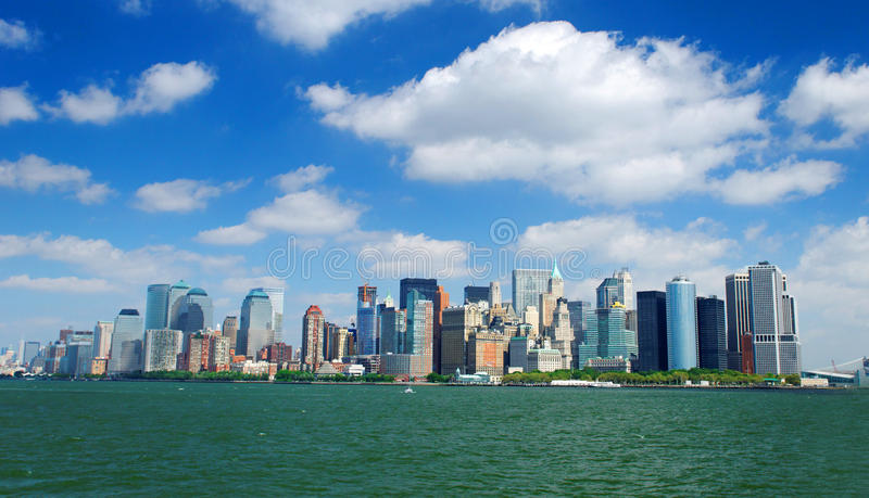 Manhattan skyline. A view across water to the Manhattan waterfront and skyline, New York City stock image