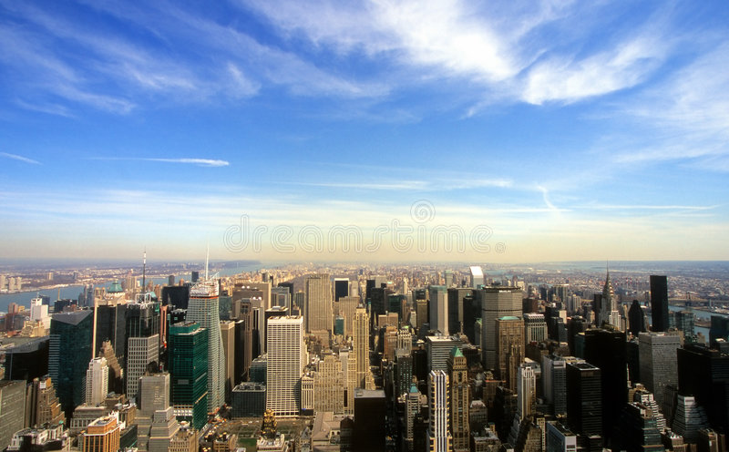 Manhattan-Skyline stockbilder