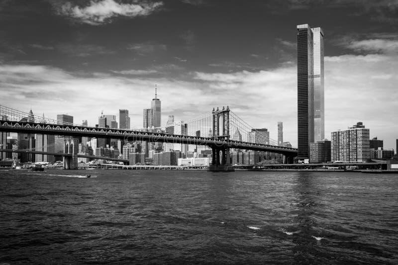 Black and white Skyline Manhattan with Manhattan Bridge royalty free stock photography
