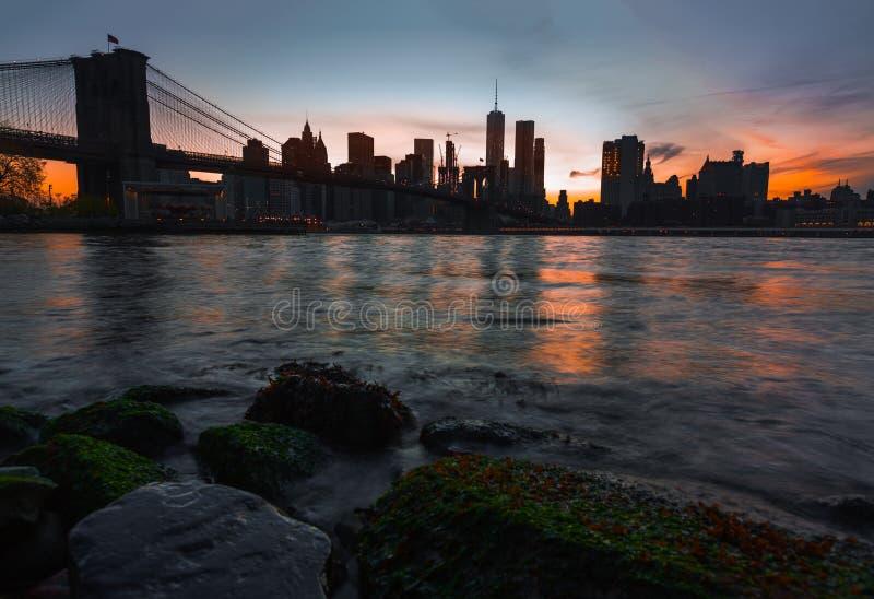Manhattan skyline with Brooklyn Bridge stock photography