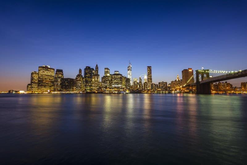 Manhattan skyline and Brooklyn bridge. New York Ci stock photography