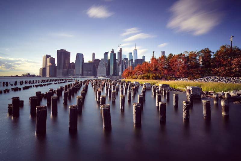 Manhattan skyline from Brooklyn Bridge Park. New York City, USA. Office buildings royalty free stock photography