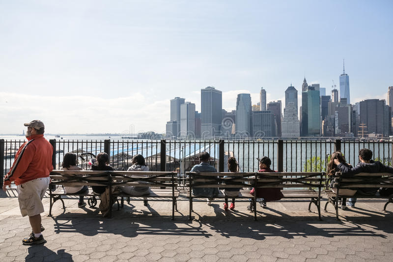 Manhattan skyline from Brooklyn Heights Promenade royalty free stock photos