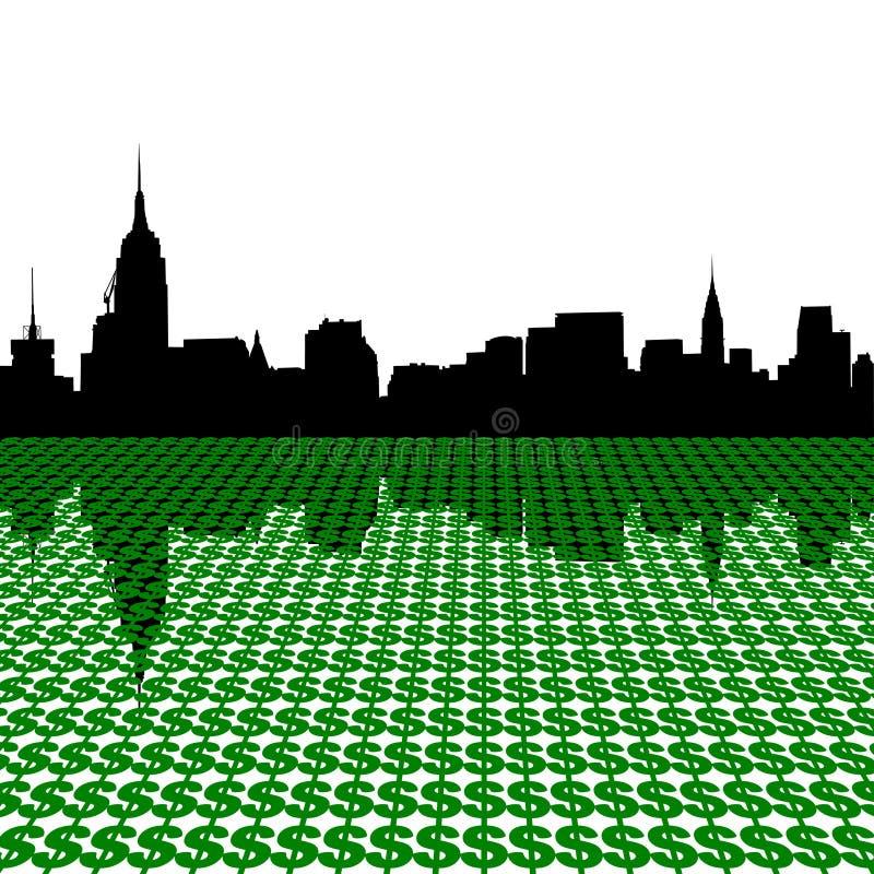 Manhattan Skyline With Dollars Stock Image