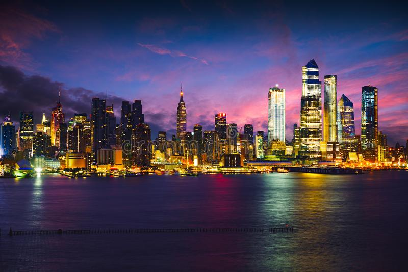Manhattan skyline at dusk royalty free stock photography