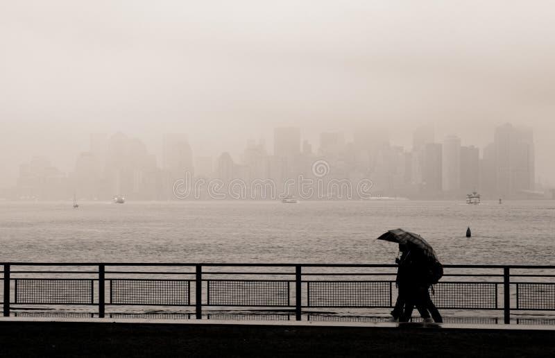 Manhattan skyline in the fog, New York royalty free stock photos
