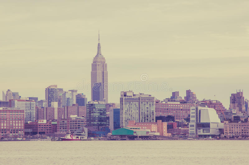 Manhattan Skyline from Hoboken. APRIL 11, 2016 - Hoboken, NJ: A view of the Midtown Manhattan Skyline seen from Hoboken on a dismal day royalty free stock photos