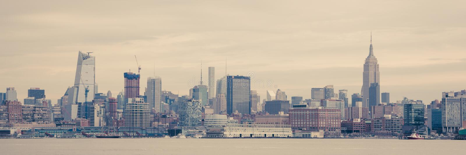 Manhattan Skyline from Hoboken. APRIL 11, 2016 - Hoboken, NJ: A view of the Midtown Manhattan Skyline seen from Hoboken on a dismal day stock images