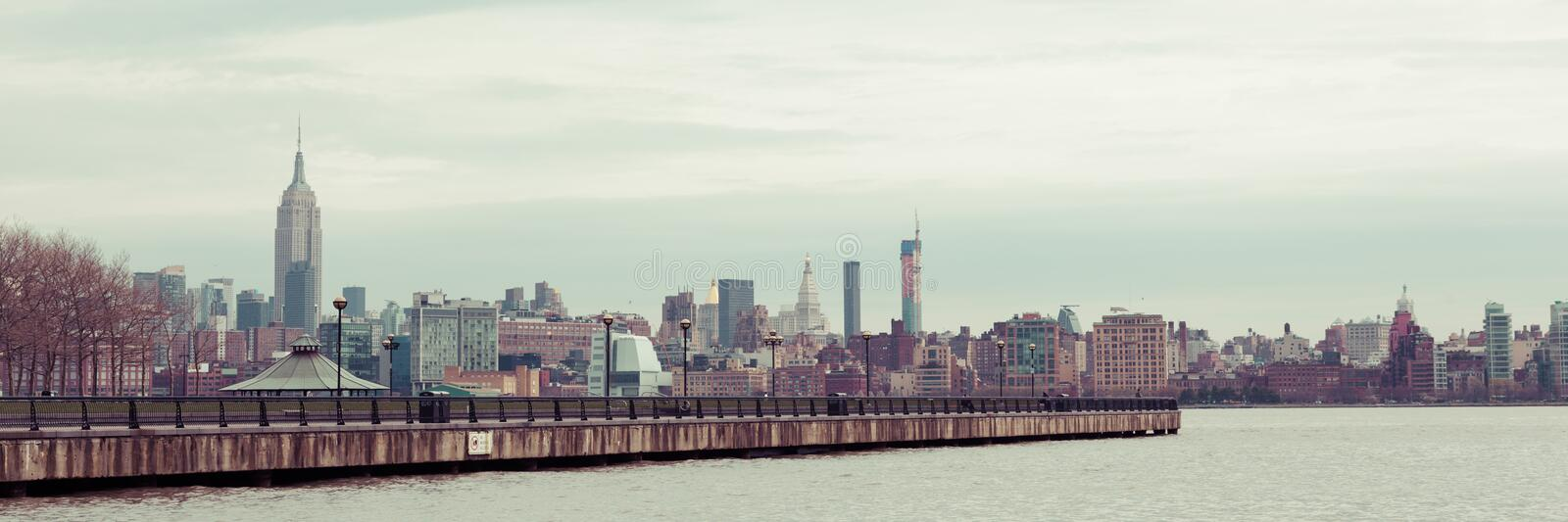 Manhattan Skyline from Hoboken. A view of the Manhattan skyline on a dismal spring day stock images