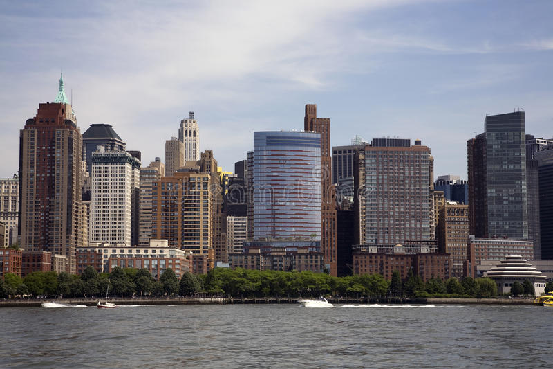 Manhattan skyline from the Hudson stock images