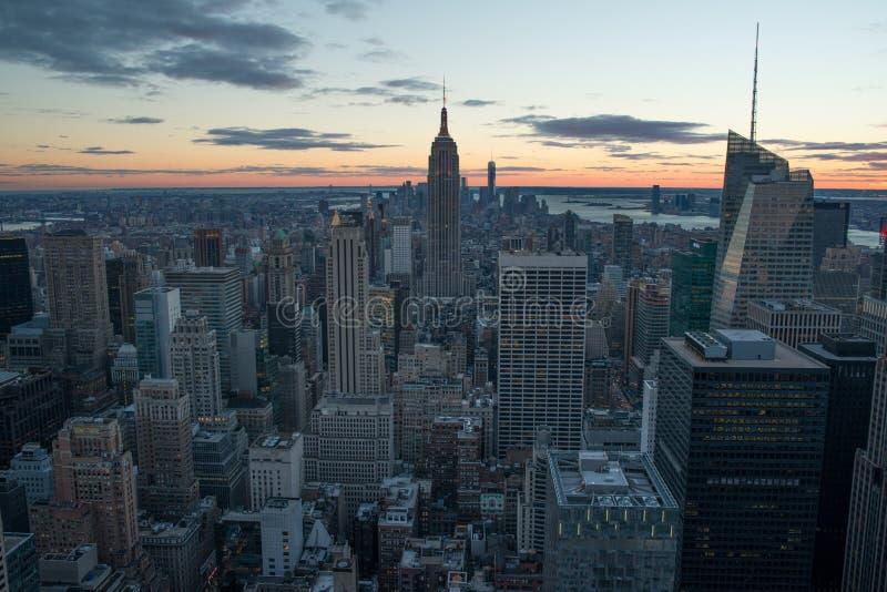 Manhattan Skyline. Image of the Manhattan skyline at sunset royalty free stock photography