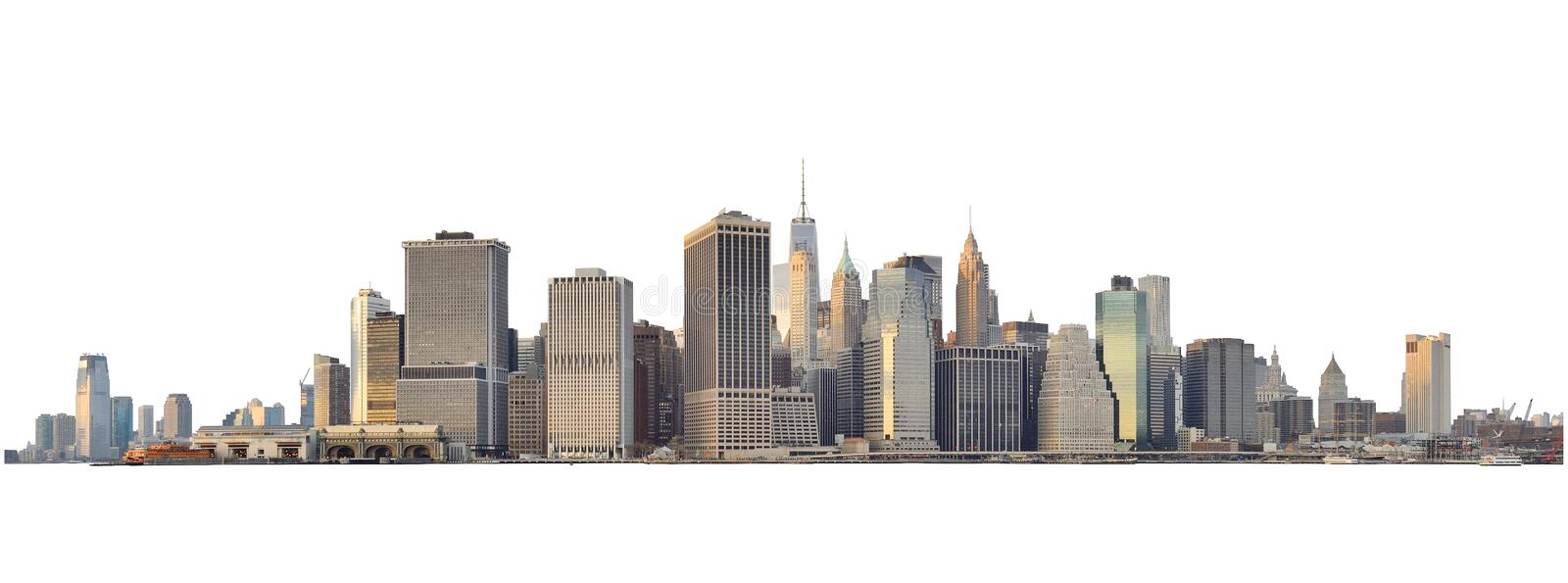 Manhattan skyline isolated on white stock photo