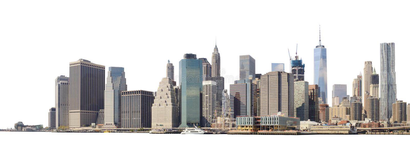 Manhattan skyline isolated on white royalty free stock photography