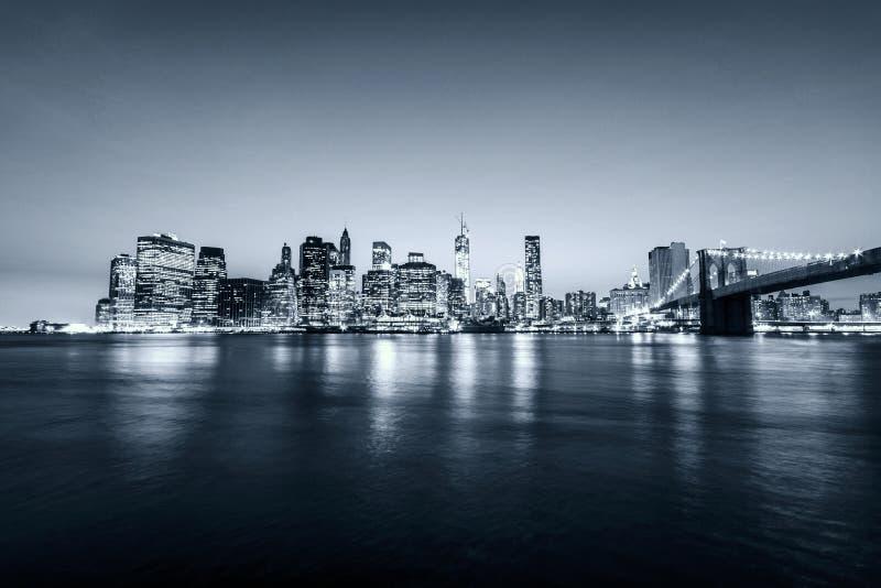Manhattan skyline. New York city. USA. Panoramic view. Blue grey tones. royalty free stock photo