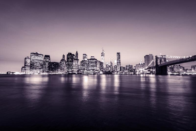 Manhattan skyline. New York city. USA. Panoramic view. Pink tones. royalty free stock photography