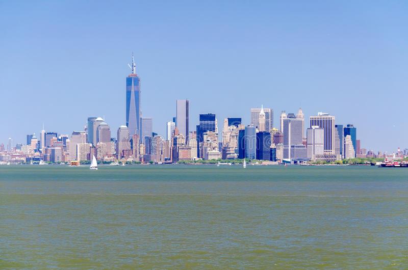 Download Manhattan Skyline stock image. Image of landmark, river - 33042721
