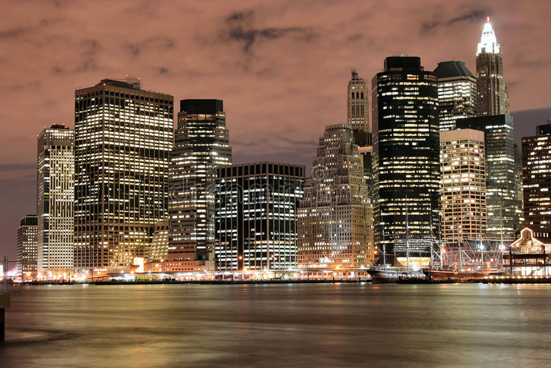 Manhattan skyline At Nigh stock photo
