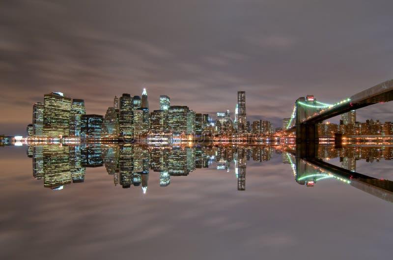 Download Manhattan Skyline at night stock image. Image of brooklyn - 18209153