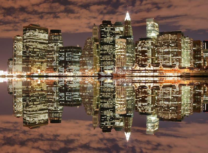 Manhattan skyline at Night royalty free stock images