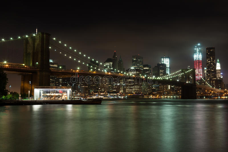 Manhattan Skyline By Night Stock Image