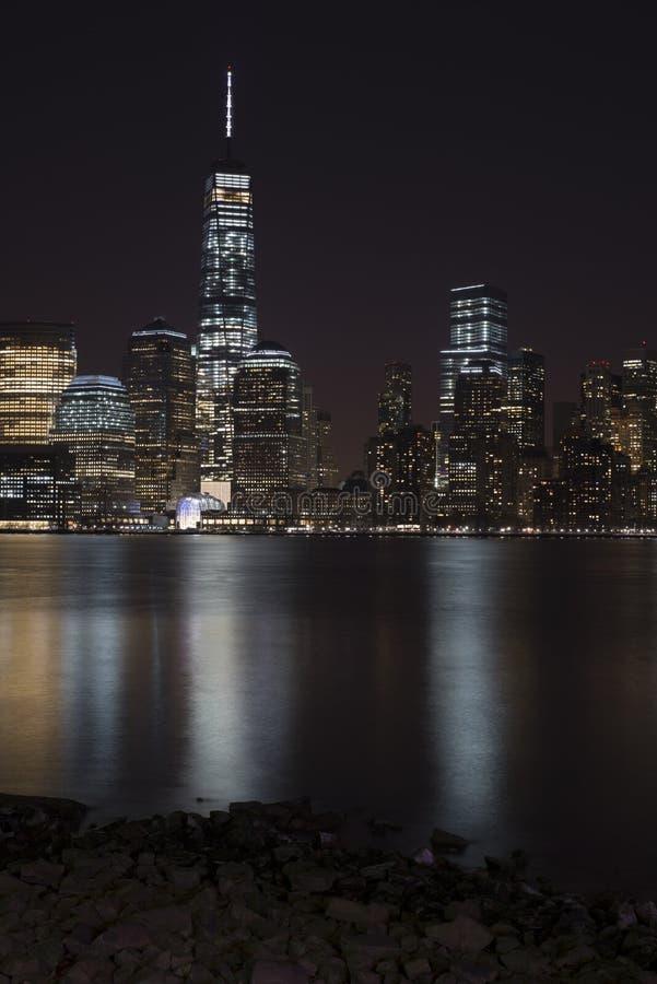 Manhattan skyline at night, New York City stock images