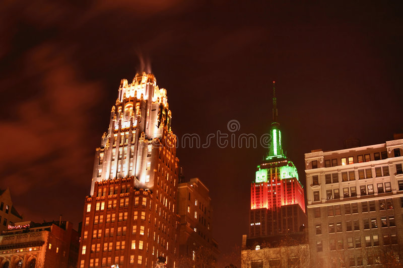 Manhattan skyline at Nights royalty free stock images