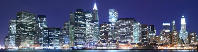 Manhattan skyline at Nights. Midtown Manhattan skyline At Night Lights royalty free stock photography