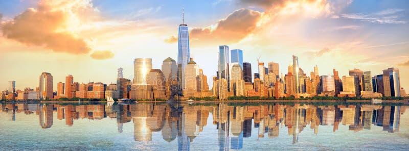 Manhattan skyline panorama royalty free stock image