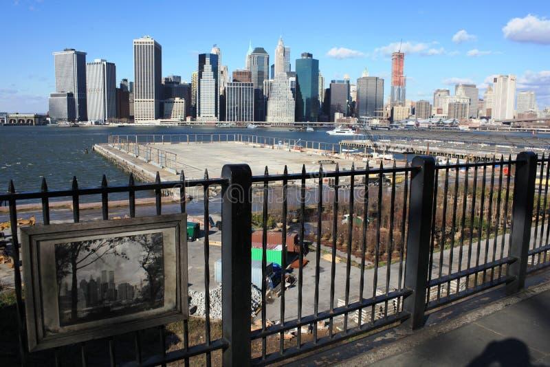 Manhattan skyline, remembering WTC royalty free stock photo