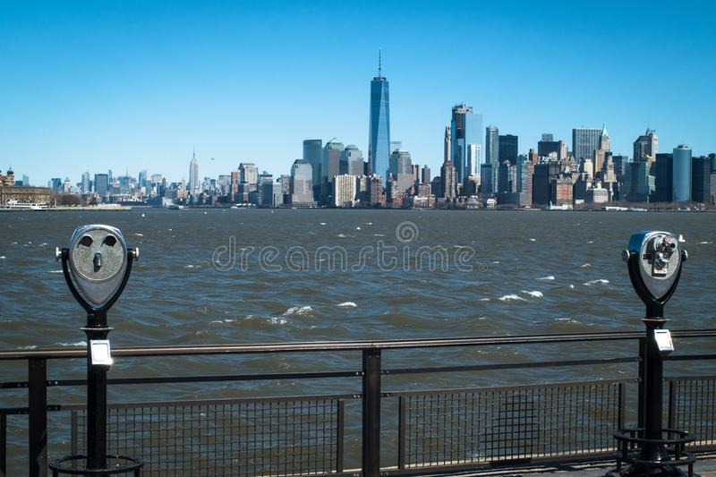 Manhattan skyline seen from the Statue of Liberty royalty free stock photography