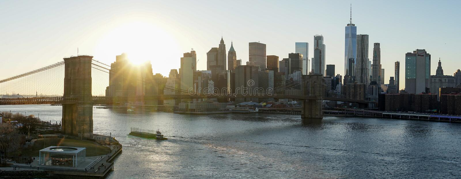 Manhattan Skyline seen from the top of Manhattan Bridge in New York City. royalty free stock images