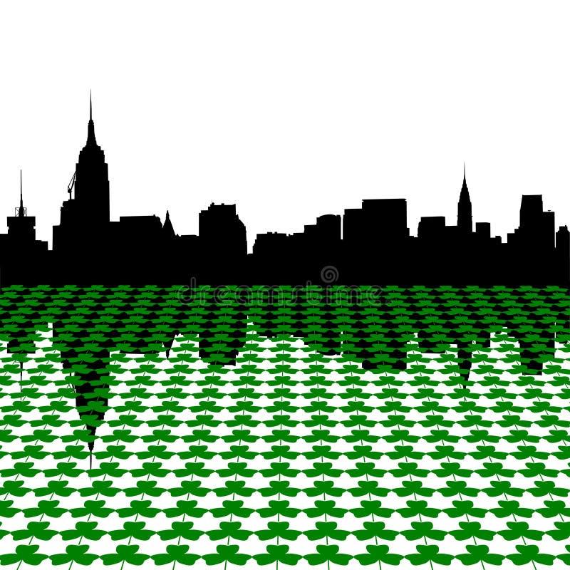 Download Manhattan Skyline With Shamrocks Stock Vector - Illustration of leaves, perspective: 7936730