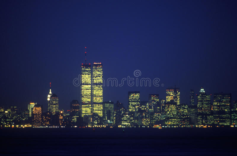 Manhattan Skyline from Staten Island at night, New York City, NY royalty free stock images
