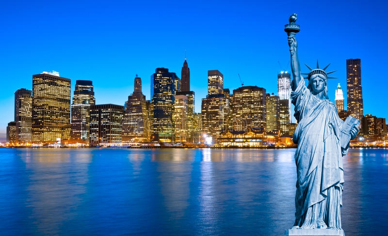 Download Manhattan Skyline And The Statue Of Liberty At Night, New York C Stock Image - Image: 27966111