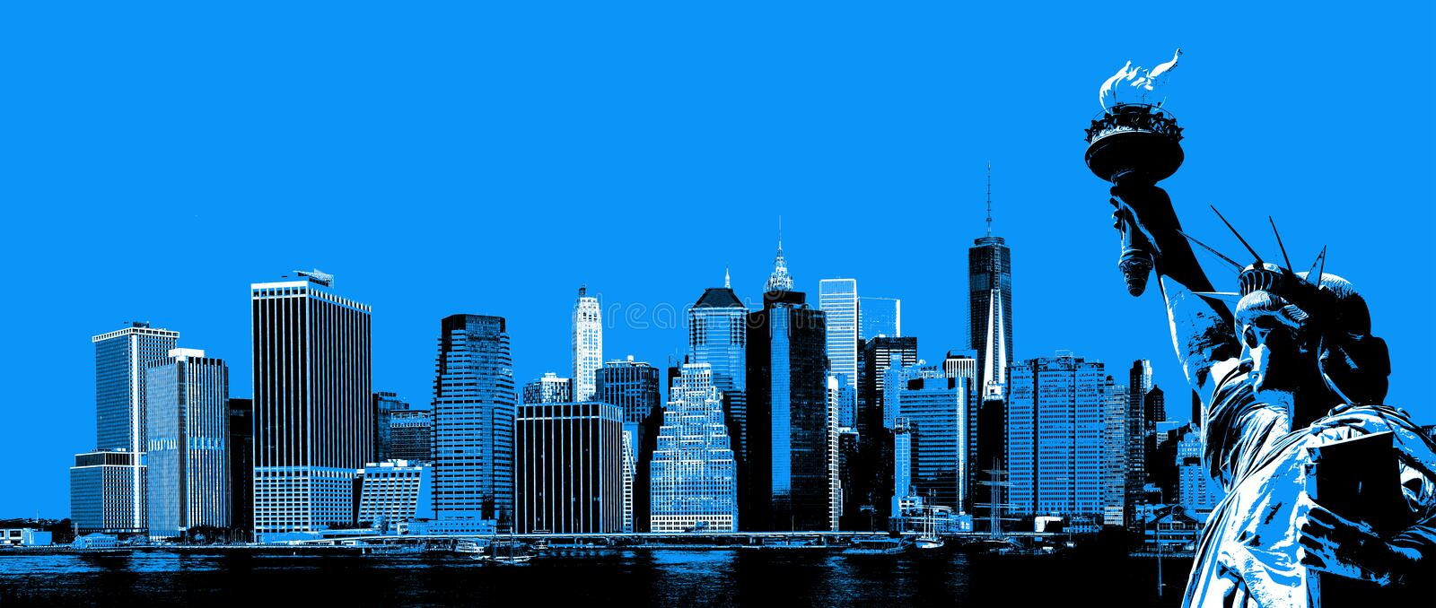Manhattan Skyline and The Statue of Liberty royalty free stock images