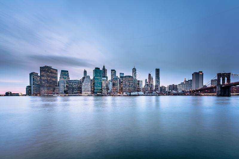 Manhattan skyline at sunrise stock photo