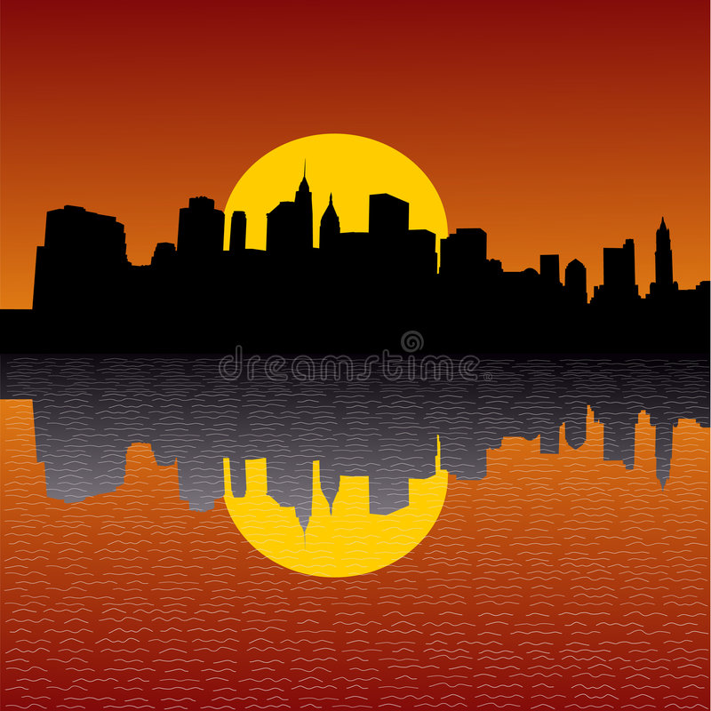 Manhattan Skyline At Sunset Royalty Free Stock Image