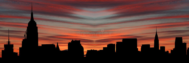 Manhattan Skyline At Sunset Stock Images