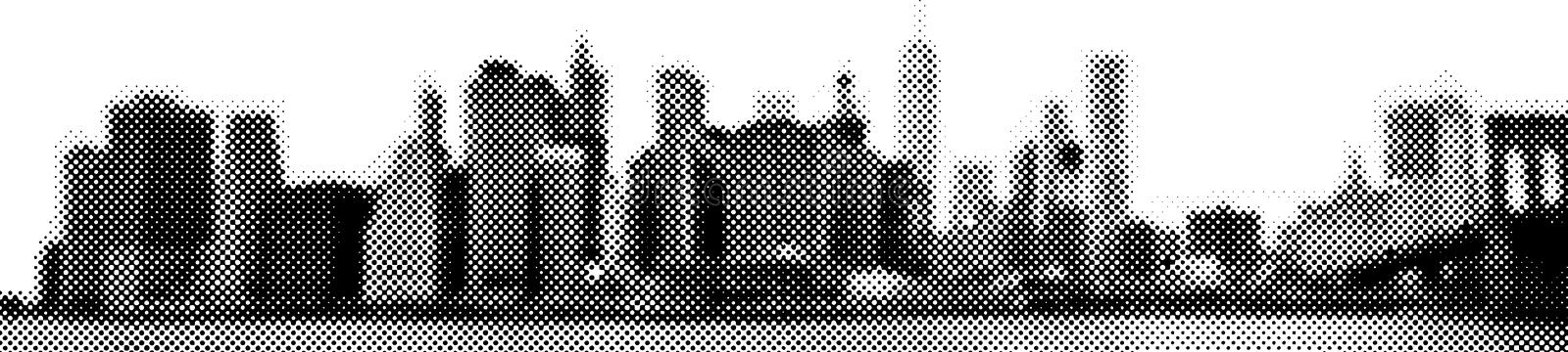 Manhattan skyline Wide panorama East-river view halftone vector illustration stock images